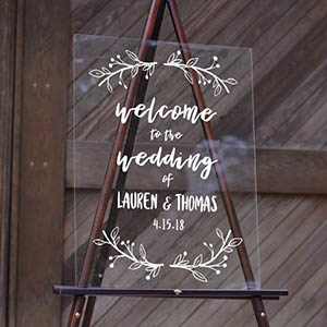 Wedding Welcome Sign Sweet Greenery Acrylic Sign 18x24