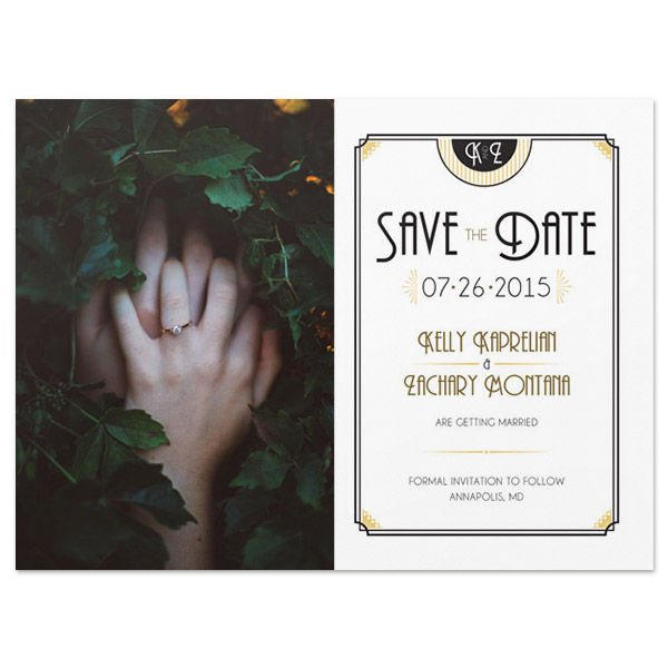 art deco photo save the date postcard