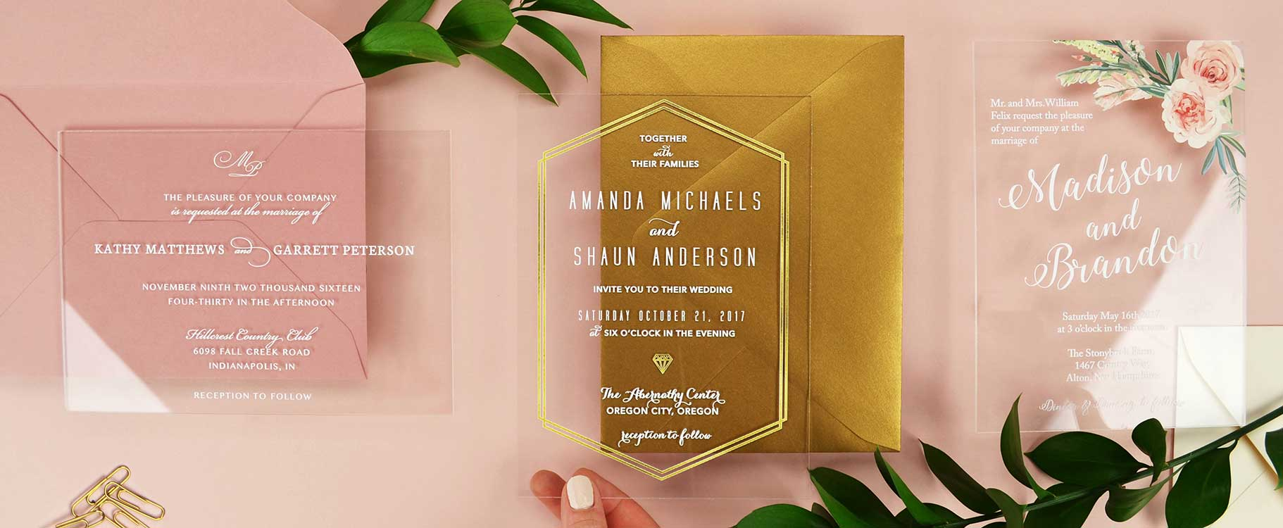 Acrylic Wedding Invitations | Cards and Pockets