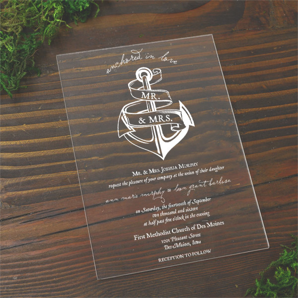 Acrylic Wedding Invitations Cards and Pockets