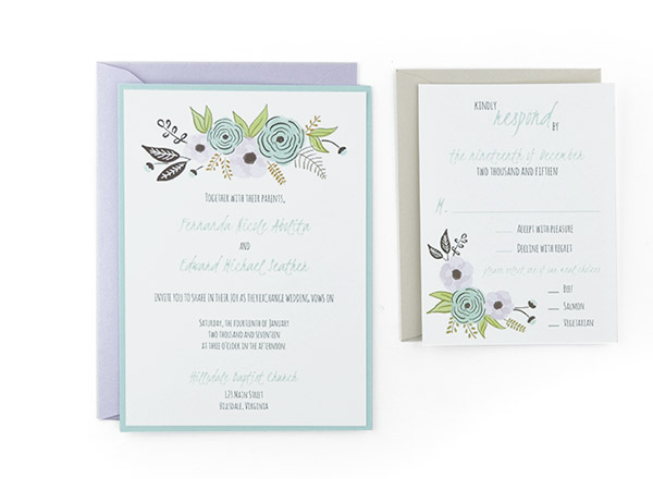 Watercolor Wave Response   4 1/8  Free Wedding Invitation Card Templates