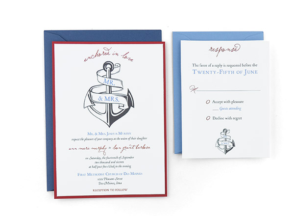 anchored in love free wedding invitation template