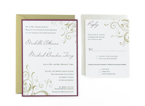 Corner Swirls Free Wedding Invitation Template