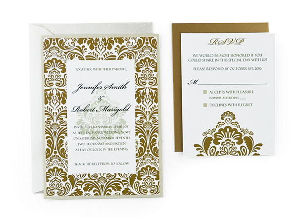 damask free wedding invitation template