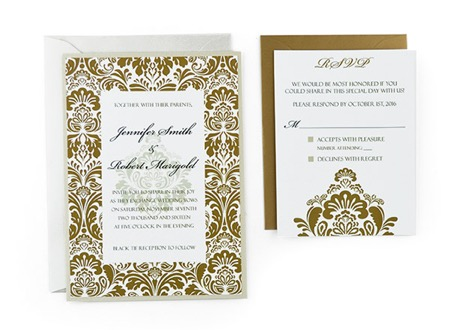 Damask Free Wedding Invitation Template - Wedding invitation templates with photo