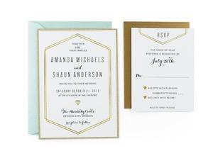 Gold Lines   Free Wedding Invitation Template