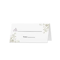 Corner Swirls - Blank Folded Place Cards