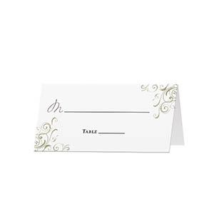 Corner Swirls - Blank Folded Place Cards