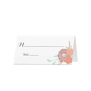 Hand Drawn Flowers - Blank Folded Place Cards