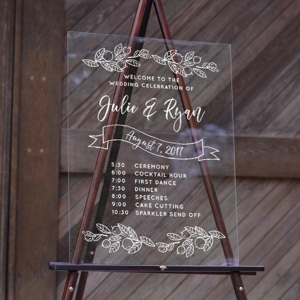 Wedding Timeline Fresh Citrus Acrylic Sign 18x24