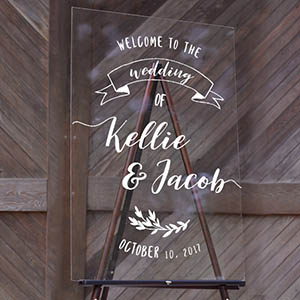 Wedding Welcome Ribbon Banner - Acrylic Sign (24x36)