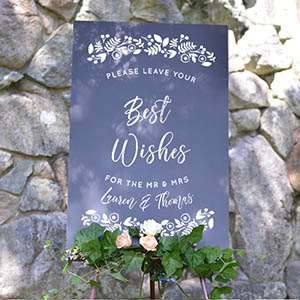 Cards And Pockets Best Wishes Botanical Border Chalkboard