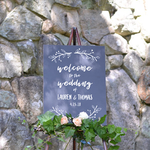 Cards And Pockets Wedding Welcome Sign Sweet Greenery