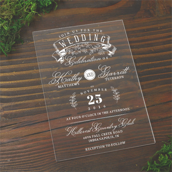 plexiglass invitations