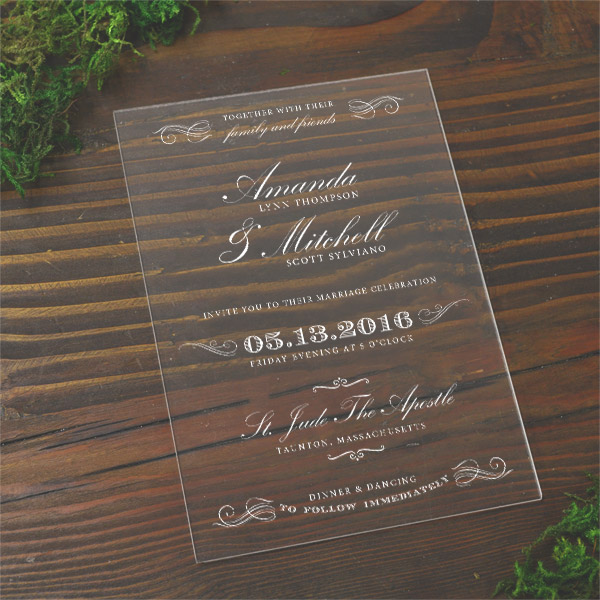 acrylic wedding invitation cards