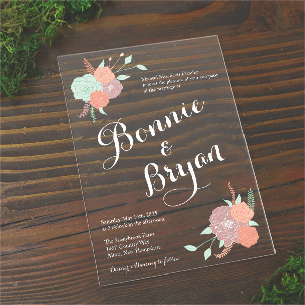 plexi acrylic wedding invitations