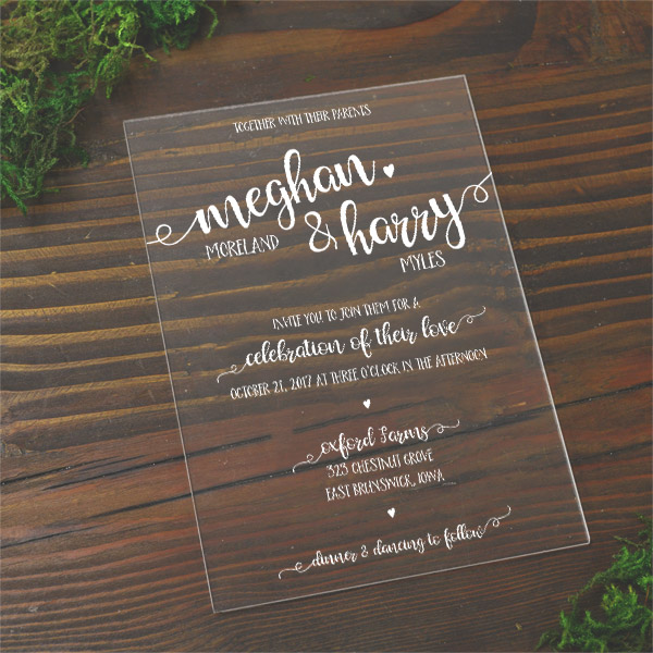 plexiglass wedding invitations