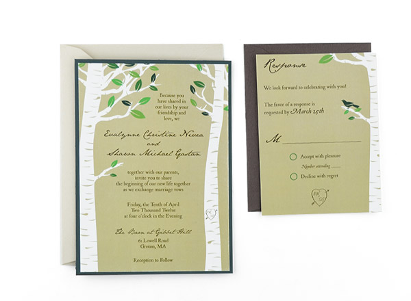 birch trees free wedding invitation template