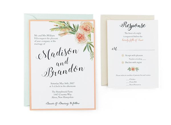 Flower Bouquet Free Wedding Invitation Template