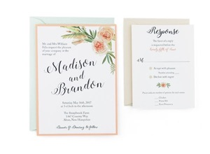 Flower Bouquet Free Wedding Invitation Template