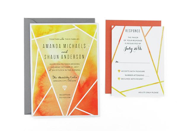 Triangle In the Corner Wedding Invitation 5x7 Custom Digital Card /& RSVP Postcard