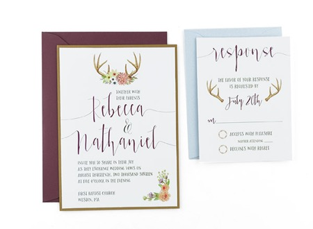 woodland watercolor wedding invitation template